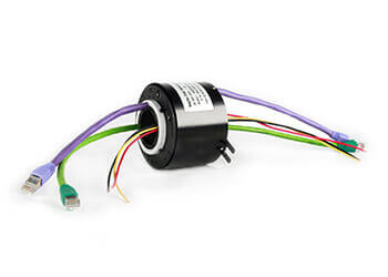 Ethernet through hole slip ring