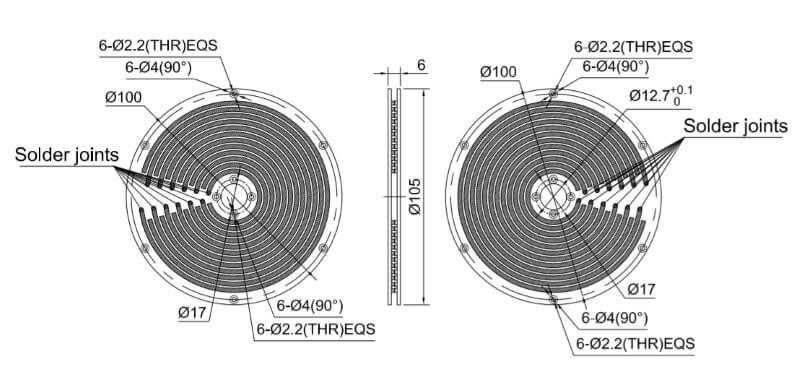 PCB slip ring drawing 12 rings