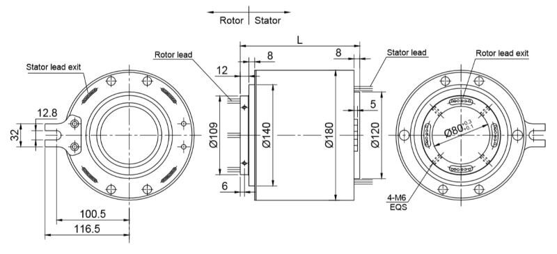 dustproof slip ring drawing FHG80180